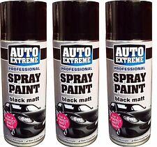 3 x 400ml Black Matt Spray Paint Aerosol Can Auto Extreme Car Van Bike Etc.