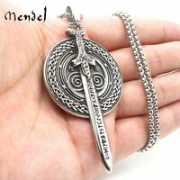 MENDEL Mens Stainless Steel Nordic Norse Viking Odin Shield Pendant Necklace Men