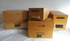 KARTEIKASTEN mit Register 60er Jahre vier Holzkasten Ablagen