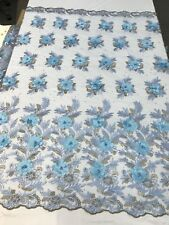 LIGHT BLUE  3D FLORAL DESIGN EMBROIDERY WITH PEARLS ON A MESH LACE-SOLD BY YARD.