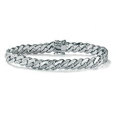 PalmBeach Jewelry Men's Diamond Accent Curb-Link Bracelet Platinum-Plated 9.5""