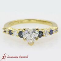 1 Carat Heart Shaped Graduated Diamond Engagement Ring With Sapphire FLAWLESS