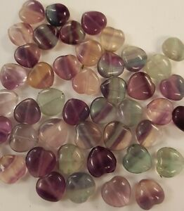 10 Flurite Heart Shaped Beads
