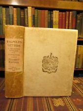1909 SIGNED Raphael HORACE WALPOLE A DESCRIPTIVE CATALOGUE Rare Old Book English