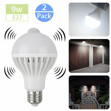 2Pc 9W Motion Sensor Light Bulb Motion Activated Led Dusk to Dawn Indoor/Outdoor