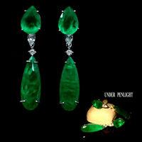FOREST GREEN DOUBLET EMERALD & WHITE CZ EARRINGS 925 SILVER STERLING