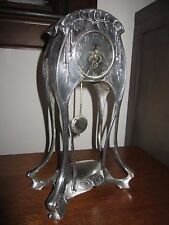 Superb, Rare Art Nouveau G & B Jugendstil Silver Plated Mantel Clock!