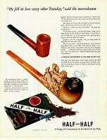 1941 ORIGINAL VINTAGE LUCKY STRIKE HALF & HALF PIPE TOBACCO MAGAZINE AD