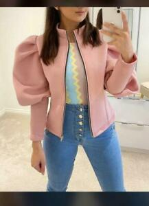 Ladies Womens Fashion Puff Sleeve Blazer Zip Up Padded Party Racer Bomber Jacket