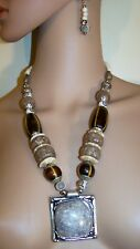 3Pc. Brown African Style Beaded   And Metal Necklace Jewelry  Earring Set