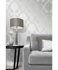 Fine Decor Quartz Silver Grey Glitter Damask Textured Feature Wallpaper FD41965