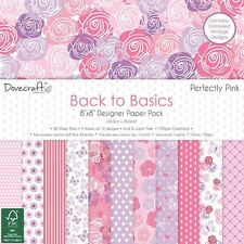 "Dovecraft Back to Basics Perfectly Pink - Card Craft Paper Pad 8x8"" (150gsm)"
