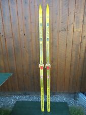 """Nice Vintage Wooden 77"""" Long Skis Original Yellow and Blue Finish with Bindings"""