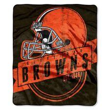 "Cleveland Browns Plush Raschel Throw Blanket - Grandstand Design 50""x60"" Fleece"
