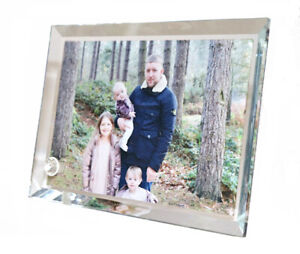 Personalised Crystal Glass Bevelled Edged Photo Frame with Stand