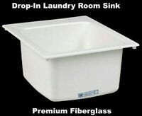 "DROP IN LAUNDRY ROOM SINK White Self Rimming Countertop Mounted 20""L x 17""W"