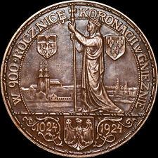 POLEN: Medaille 1924, Jan Wysocki. 900 JAHRE KRÖNUNG BOLESŁAW CHROBRY IN GNESEN.