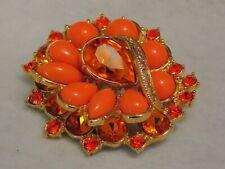 Modern Coral Orange Amber AB Rhinestone Cabochon Flower Brooch
