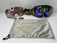 SMITH Optics I/O Yellow Snowboard Goggles With Extra Lens And Soft Bag.