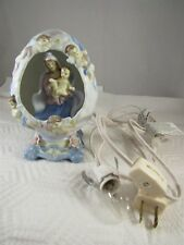 "VIRGIN MARY & BABY JESUS ANGELS FLOWERS LIGHT UP EGG FIGURINE 6"" TALL - NO BOX"