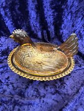 Vtg Indiana Glass Rooster Hen Chicken Gold Yellow Amber Candy Dish Nest