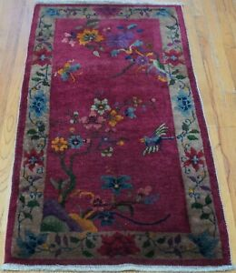"""Antique Chinese Art Deco 2'6"""" x 5' Floral Bird Hand Knotted Wool Oriental Rug"""