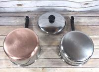 Vintage Revere 3 QT Double Boiler Saucepan Copper Bottom 1801 w/ Lid USA EUC