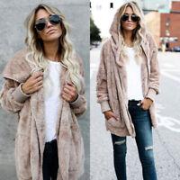 Winter Warm Womens Faux Fur Parka Jacket Cardigan Hooded Hoodie Coat Outwear