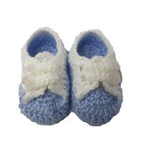 CUTE Baby Boys Blu con Dettaglio Bottone Bianco fino a Maglia Stivaletti - 0-6 mesi
