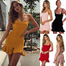 Women Casual Ruffles Strappy Boho Print Mini Dress Summer Beach Bodycon Skirts