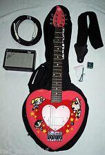 PowerPuff Girls Daisy Rock electric guitar w/ Fender mini amp, strap, cord