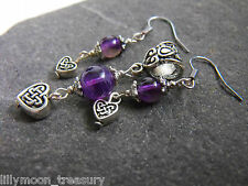 Ethnic style CELTIC HEART PENDANT & EARRINGS SET AMETHYST gemstone goth gypsy