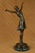 Art Deco Signed Chiparus Dancer Bronze Sculpture Marble Statue Figurine Figure