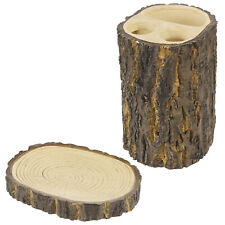 2 Piece Soap & Toothbrush Holder Bar Tree Bark  Bathroom Shower Rack Caddy Shelf