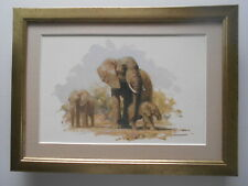 David Shepherd print 'Elephant and Babies' FRAMED