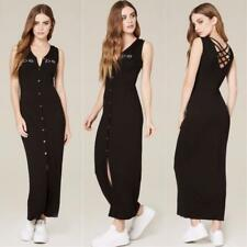 BEBE LOGO BLACK BUTTON UP LATTICE BACK MAXI DRESS NEW NWT XXSMALL XXS