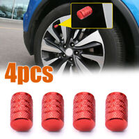 4pcs Car Wheel Tyre Tire Valve Stems Air Dust Cover Screw Caps Red Accessories