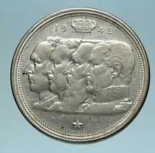1949 BELGIUM Kings Leopold I II III & Albert I OLD Silver 100 Francs Coin i83472