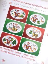 6 CROSS STITCH CHRISTMAS CARDS KIT Santa Rudolph RIVERDRIFT HOUSE