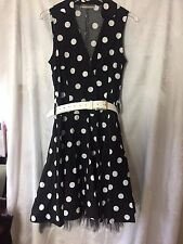 RINASCIMENTO LINEA ITALIAN DRESS MEDIUM BLACK WHITE DOTS 50s STYLE NET PETTICOAT