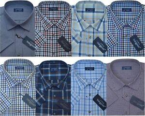 Mens Short Sleeve Summer Yarn Dyed PolyCotton Check Shirt M - 6XL By Tom Hagan