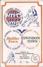 Football Programme - Halifax Town v Swindon Town - Div 3 - 1974