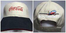 Southwest Airlines Coca Cola Coke Khaki Tan Black Red Hat Ball Cap Plane New