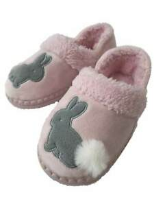 WONDER NATION TODDLER GIRL/'S BUNNY RABBIT PINK SLIPPERS WARM HOUSE SHOES