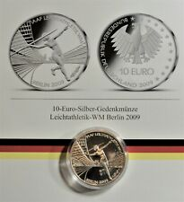10 EURO 2009 D SILBER: Leichtathletik WM 2009 Berlin st/unc +Kapsel & Zertifikat