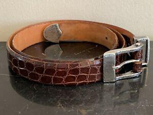 Vintage James Reid Genuine Leather Belt with Sterling Silver Buckle Size 38