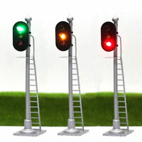 3pcs Model Railroad 1:87 Train Signals HO Scale 3-Lights Block Signal 12V GYR