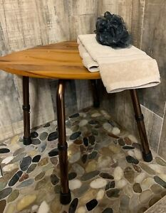 Teak Bath Seat Shower Chair Triangle Shaped Stool Slip-Resistant Rubber Tip New
