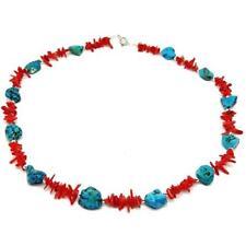 El Coral Collar Coral Rojo ramitas y Turquesa piedras grandes