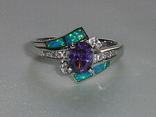 Ladies Art Deco Style Fine 925 Solid Silver Opal Sapphire & Amethyst Dress Ring